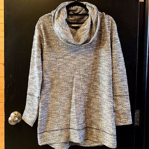 Grey/White Cowl Neck Sweater NWOT